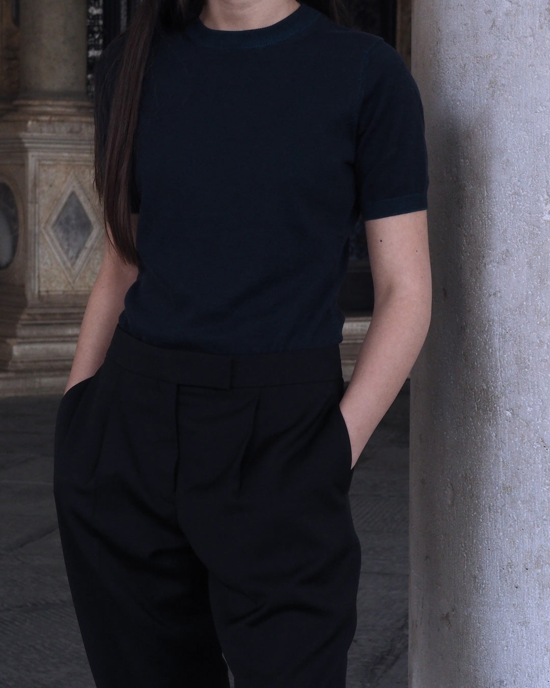 @sandrarossi03 in Soft Plated Knit + Single-Pleat Trouser from The Organic Collection.