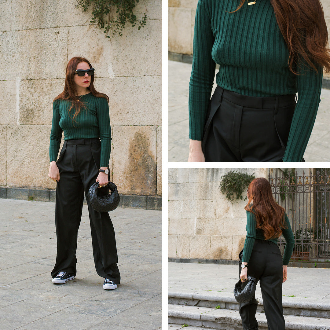 The Catania style edit featuring @eleonoraarico Sweeping-Pleat Trouser Black, Soft Ribbed Knit Emerald Green