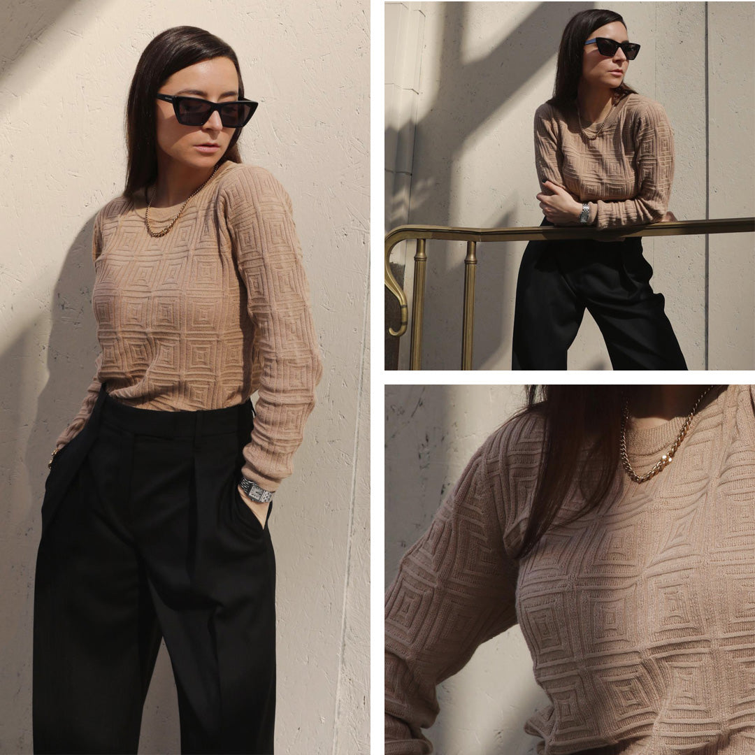 The LA style edit featuring @juliacomil Sweeping-Pleat Trouser Black, Soft Cube Knit Island Sand