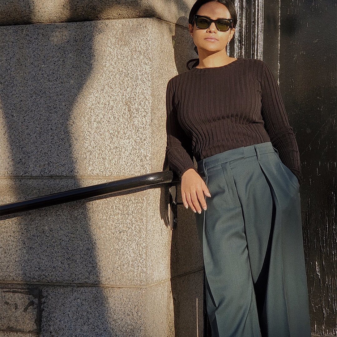 @styledevotee in Soft Ribbed Knit + Sweeping-Pleat Trouser from The Organic Collection.