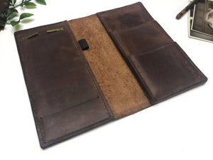Theo - Original Design by InkSmudge Journals | Brown Leather Notebook Cover | Narrow or A5 AND Pocket Sized Notebooks - Handmade to Order