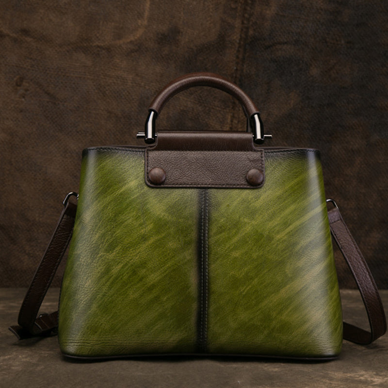 Printed Vintage Genuine Art Leather Handbag-Green