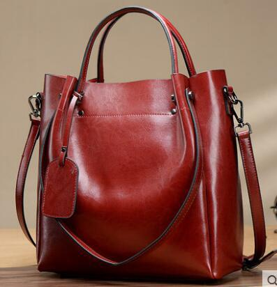Simple Classic Oil Wax Leather Crossbody Bag-Red