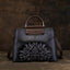 Printed Vintage Genuine Art Leather Handbag-Black