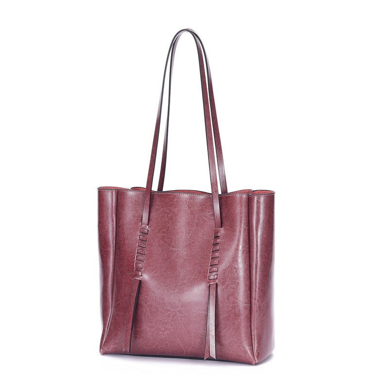 【NEW】Large Capacity Oil Waxed Genuine Leather Tote Bag-Purple