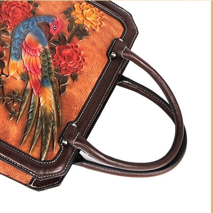 Handmade Genuine Leather Floral Square Bag-Red