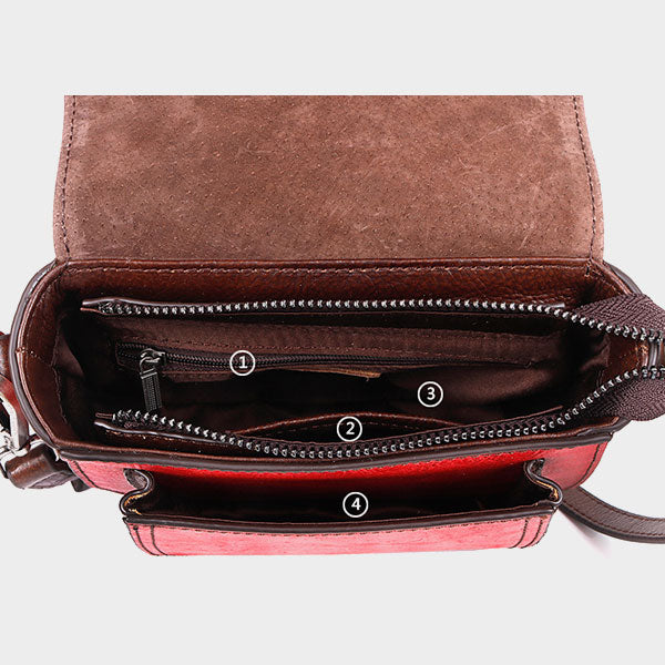 Peony Embossed Genuine Leather Clamshell Shoulder Bag-Red