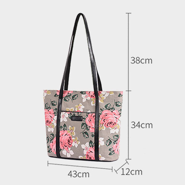 Large-capacity Rose Flower Printed Canvas Tote Bag-Black
