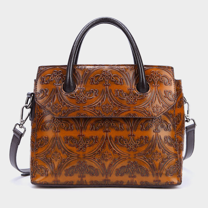 Retro Floral Genuine Leather Square Crossbody Bag-Brown