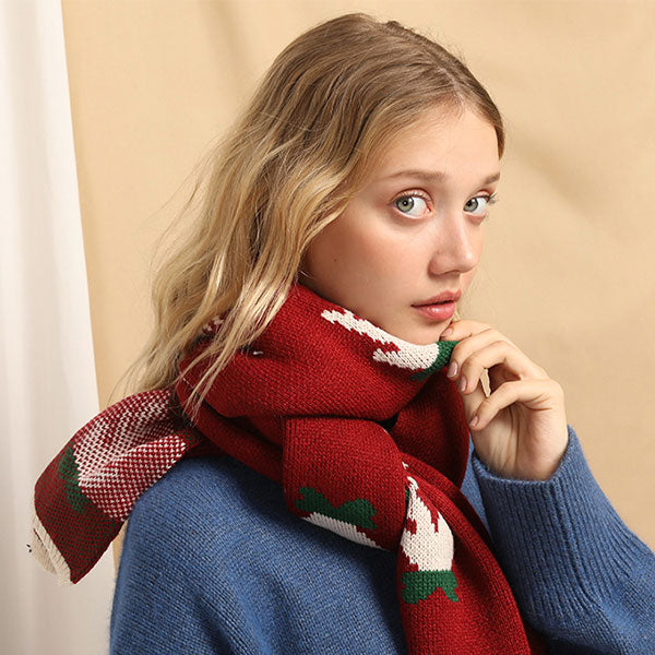 Winter Elk Pattern Christmas Gift Scarf