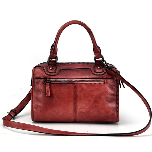 New Retro Genuine Leather Hand-painted Fashion Casual Messenger Bag-Red