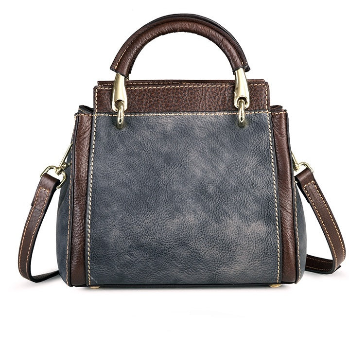 Carved  Vintage Genuine Leather Square Crossbody Bag-Gray Black