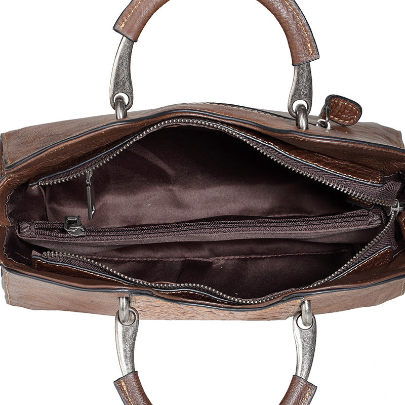 Handmade Floral Genuine Leather Handbag-Coffee Brown