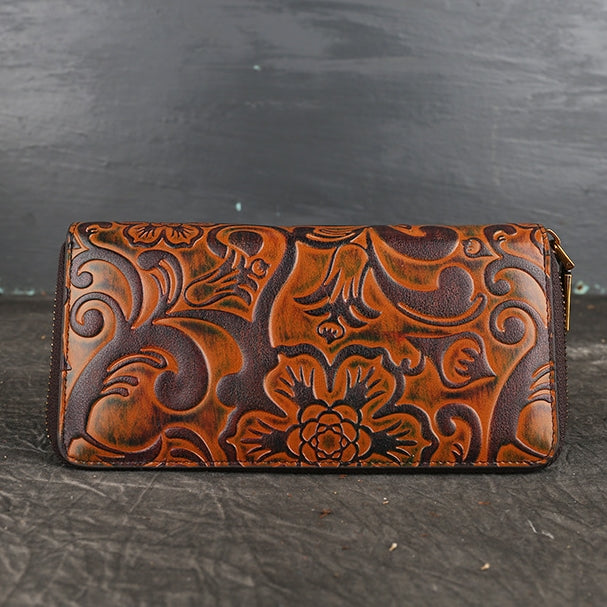 Retro Carving Genuine Leather Wallet-Bronze Gold
