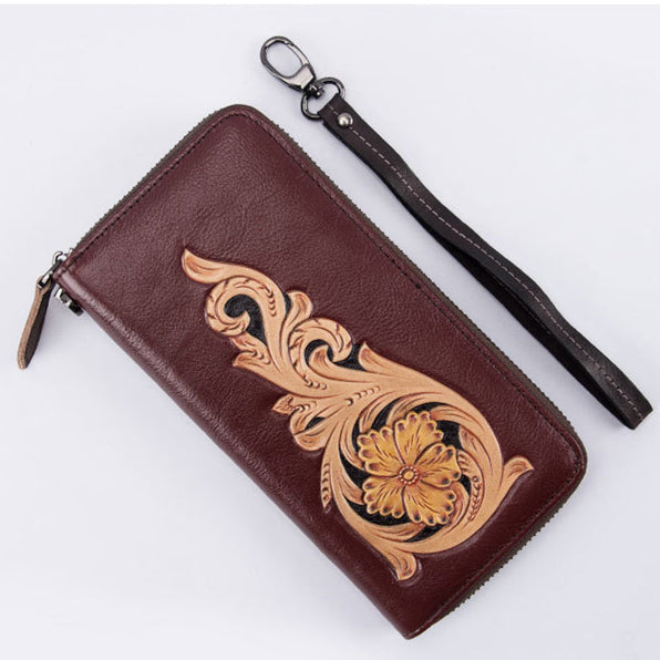 2019 Genuine Leather Floral Clutch-Coffee