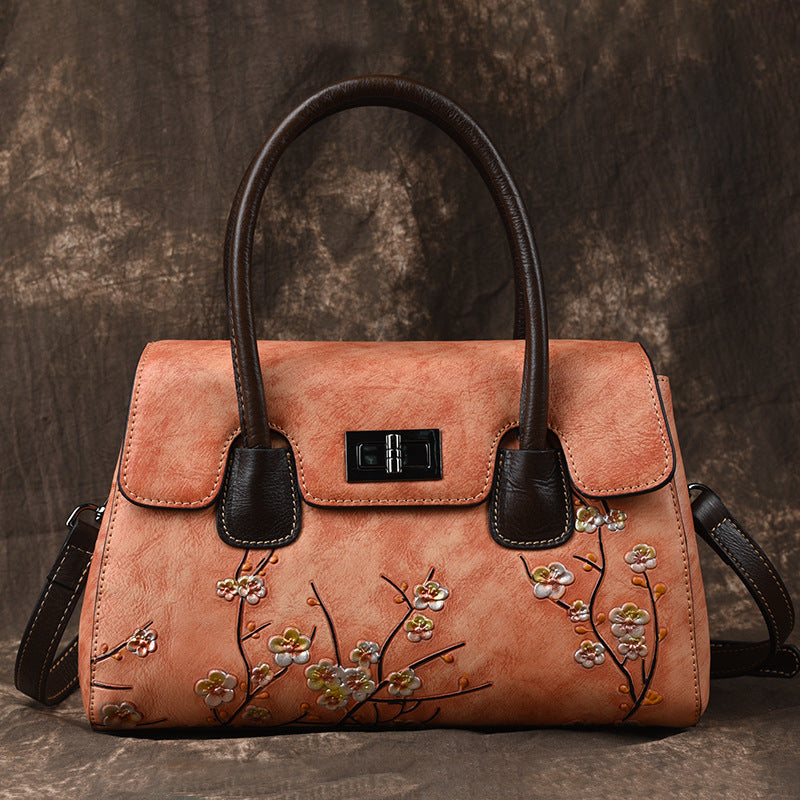 Vintage Plum Blossom Genuine Leather Crossbody-Brown
