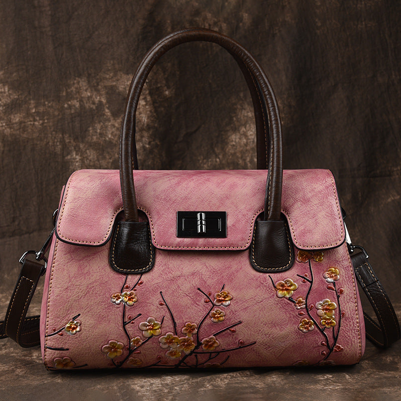 Vintage Plum Blossom Genuine Leather Crossbody-Purple