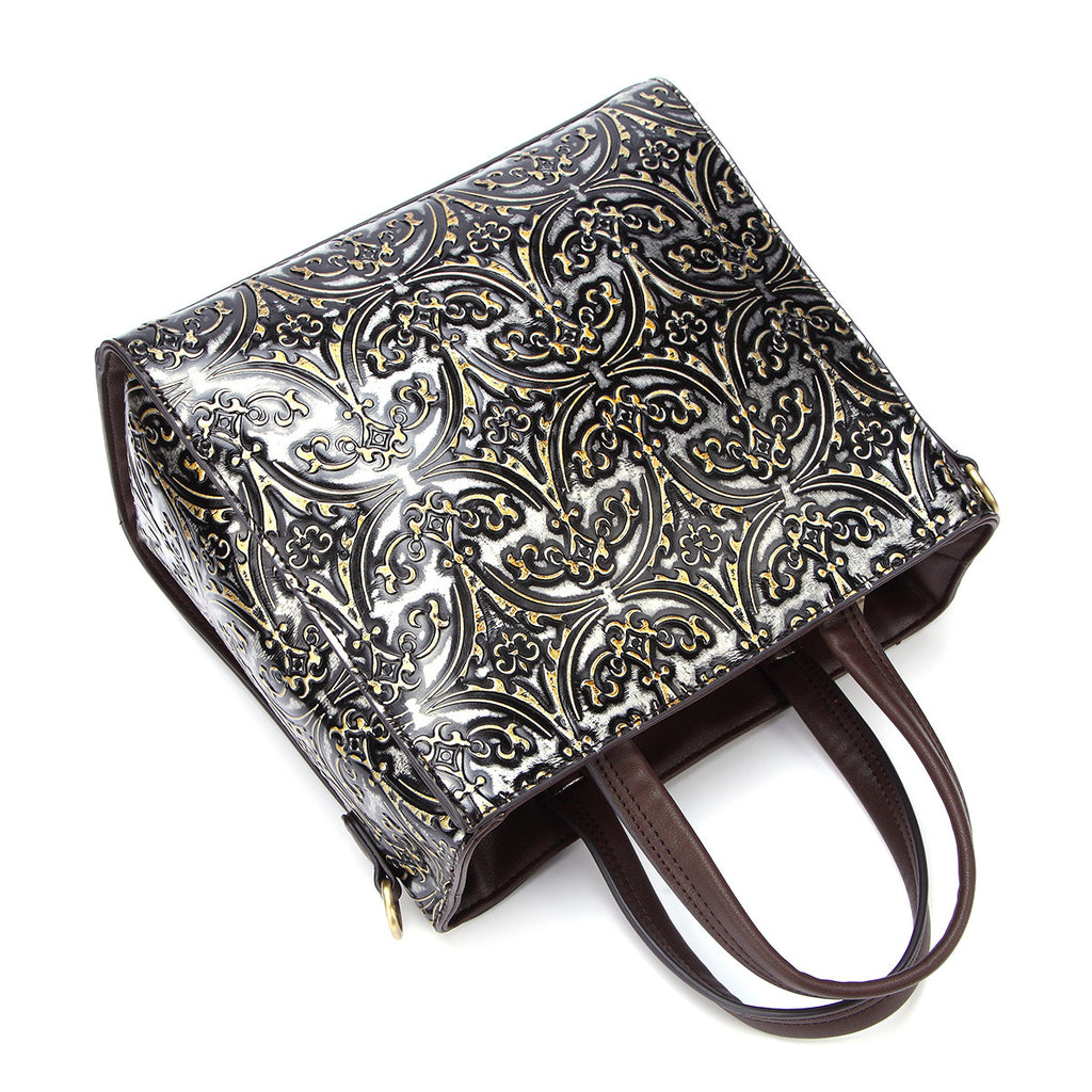 Retro Floral Genuine Leather Handbag- Black