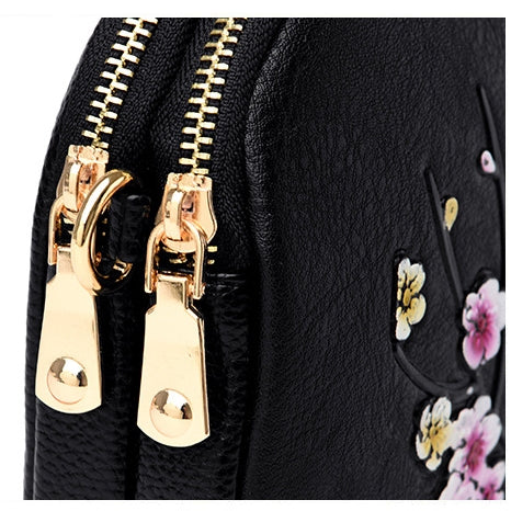 Retro Plum Blossom Embossed Crossbody Bags-Black