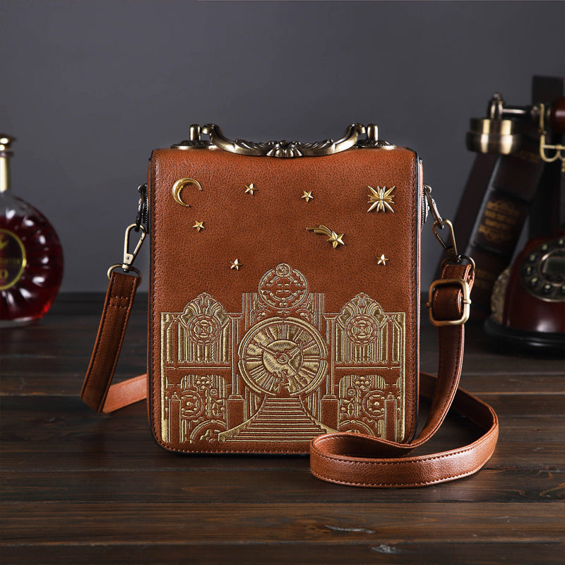 Retro Creative Double Embroidered Rotatable Clock Collectible Crossbody Bag-Brown
