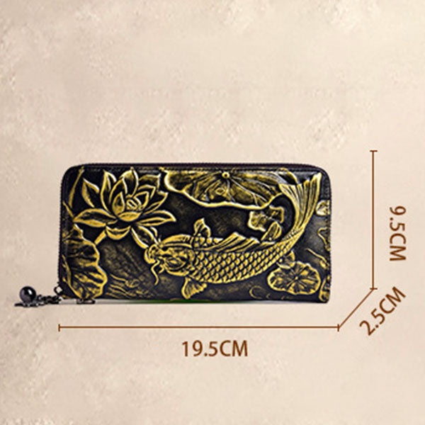 Vintage Genuine Leather Koi Embossed Long Zip Wallet - Yellow