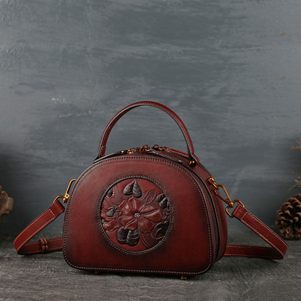 Genuine Leather Lotus Embossing Vintage Shoulder Bag-Red