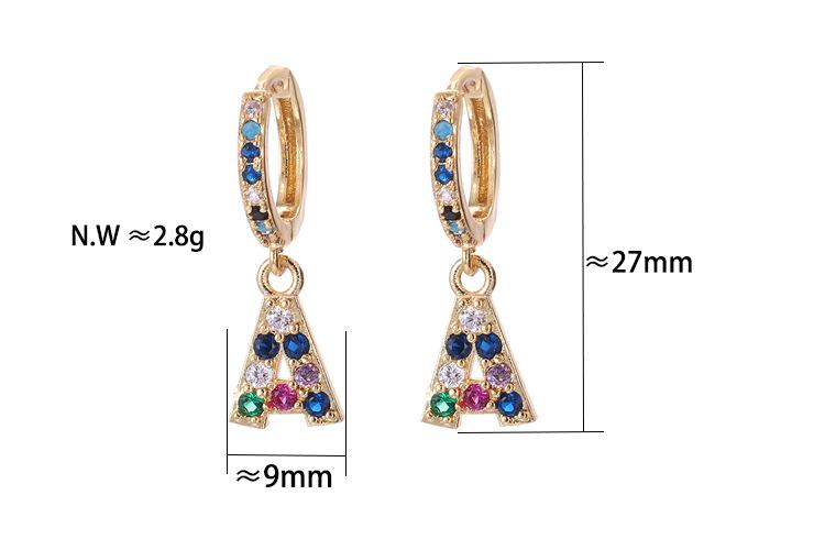 [GIFT]26 letters gold color hot sale Micro Pave cubic zirconia rainbow stone Alphabets Letter Stud Earrings For Women Fashion Jewelry
