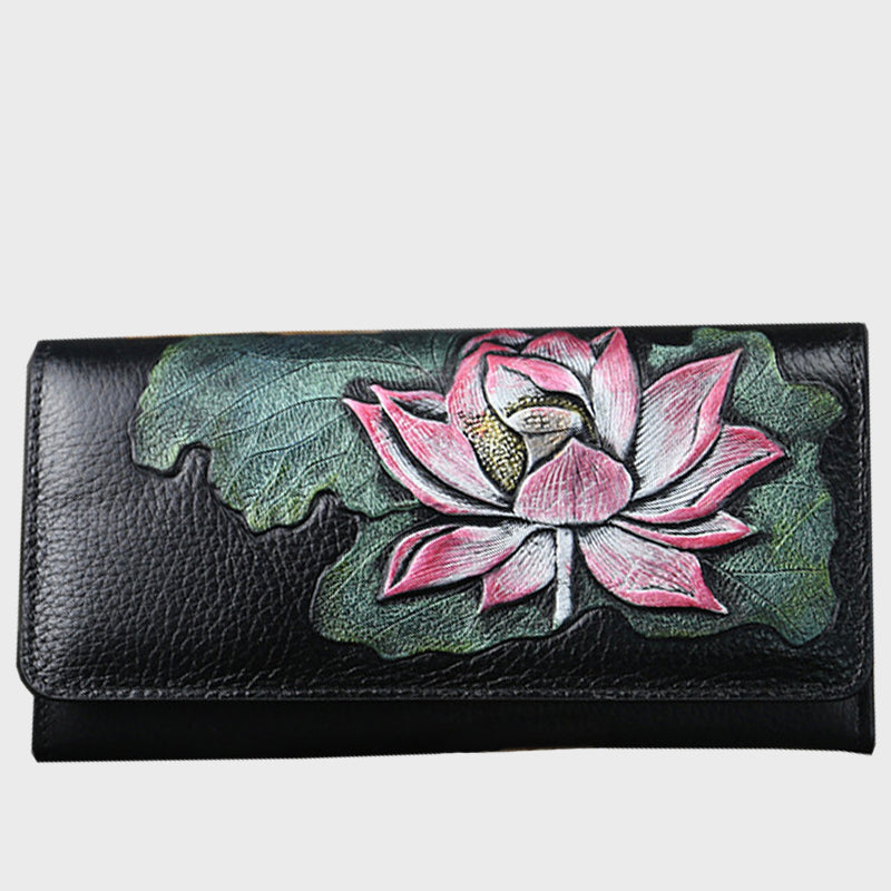 Original 2020 New Retro Genuine Leather Lotus Embossed Portable Long Wallet-Red