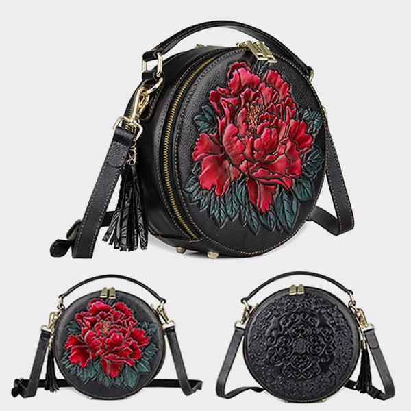New Round Barrel Genuine Leather Rose Embossed Belt Tassel Shoulder Bag - Black