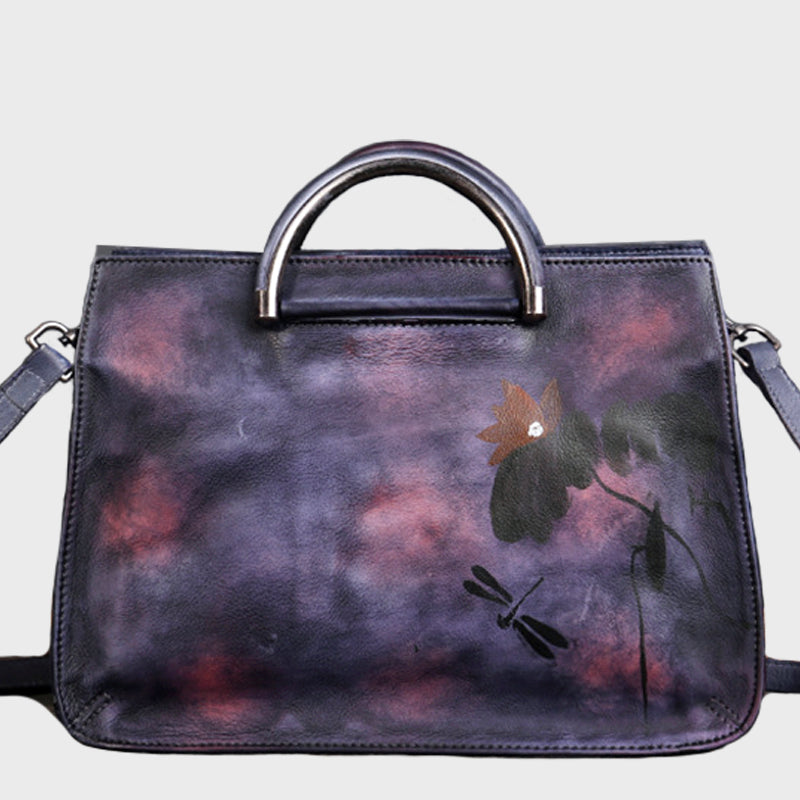 Ethnic Style Lotus Handmade Brush-off Color Genuine Leather Tote Bag-Purple
