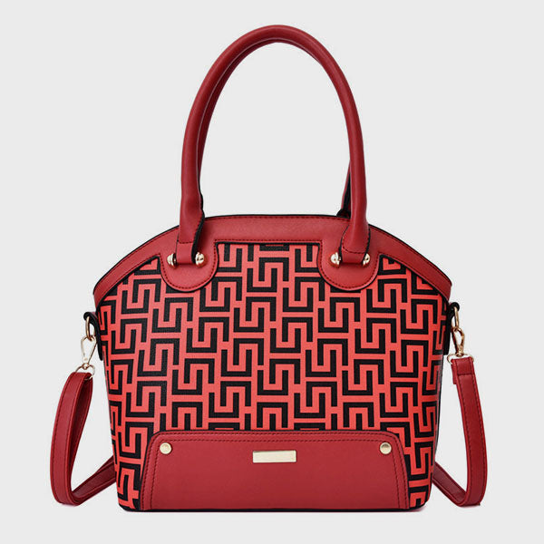 Solid Carving Vintage Crossbody Bag-Red