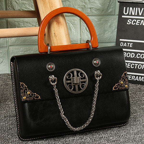 Exquisite Ladies Genuine Leather Handbag With Featured Decorations - Coffee