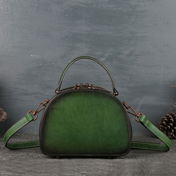 2019 Genuine Leather Lotus Embossing Vintage Shoulder Bag-Green