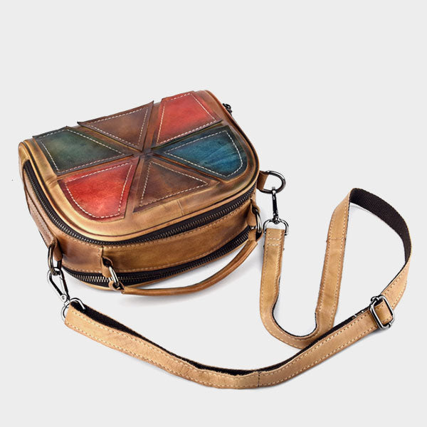 Color stitching retro messenger bag - Brown