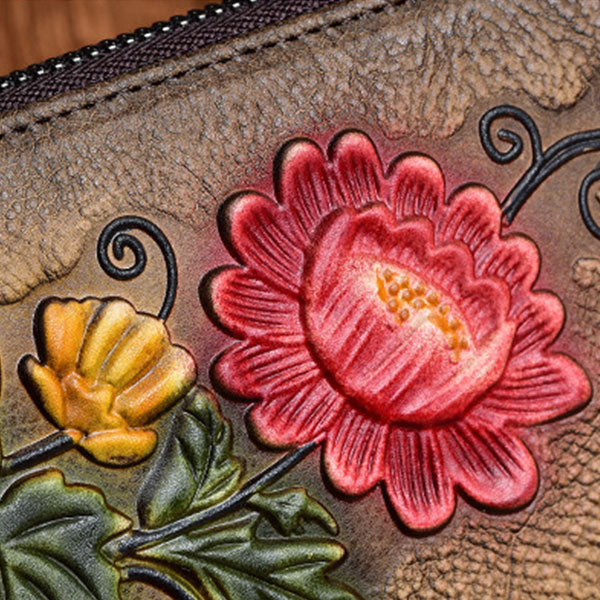 New Vegetable Tanned Leather Hand-painted Long Ladies Wallet-Brown
