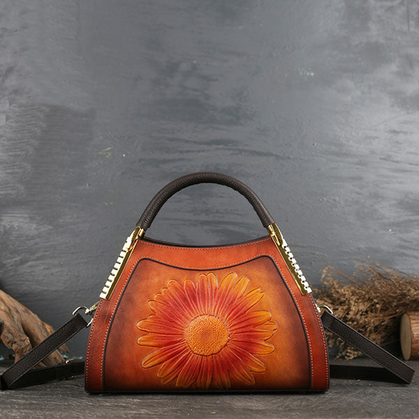 Genuine Leather Sun Flower Embossed Brush-off Color Large Capacity Boston Bag-Brown