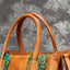 Brush-off Color Three-dimensional Embossed Leather Stitching Design Retro Genuine Leather Tote-Yellow