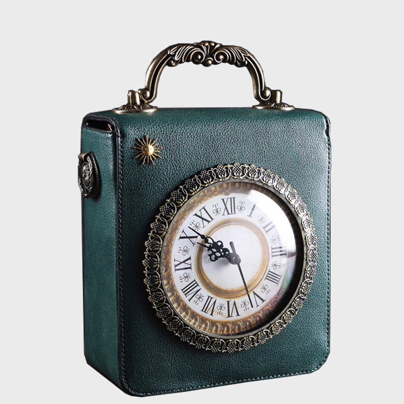 Retro Creative Double Embroidered Rotatable Clock Collectible Crossbody Bag-Green
