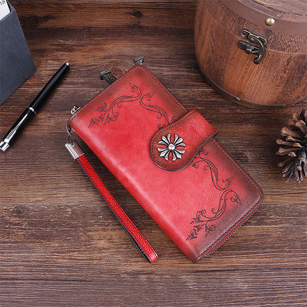 Hand Drawn Vine Pattern Brush-off Color Leather Long Wallet-Red