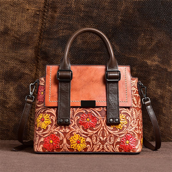 2020 New Design Flower Embossed Large-capacity Handmade Brush-off Color Tote Bag-Brown