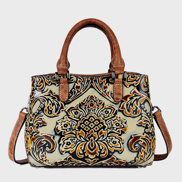 2019 Vintage Embrossed Brush-off Leather Handbag-Beige