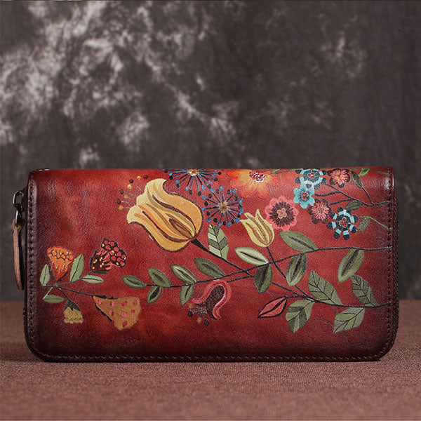 Vintage Flower-and-bird Print Genuine Leather Long Wallet - Red