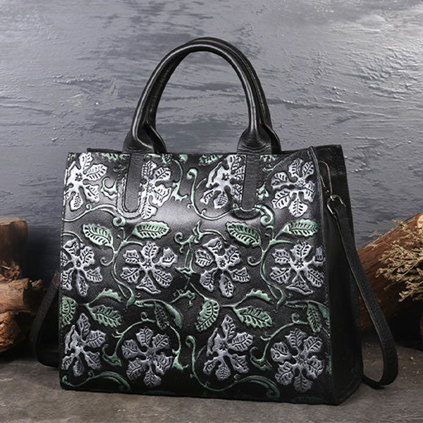 Classic Flower Print Embossed Genuine Leather Large Capacity Ladies Tote Bag-Green Morning Glory