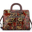 Genuine Brush-off Leather Retro Embossed Handbag-Red