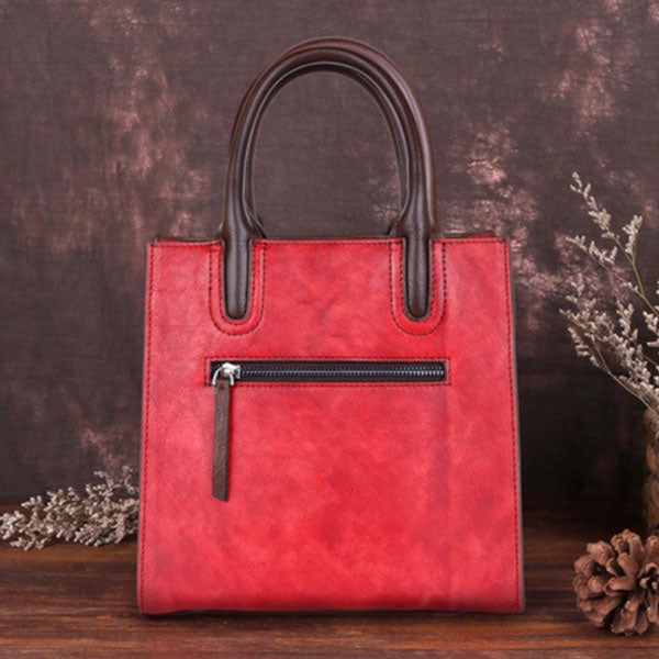 Illustration Art Three-dimensional Embossed Brush-off Color Tote Bag-Red