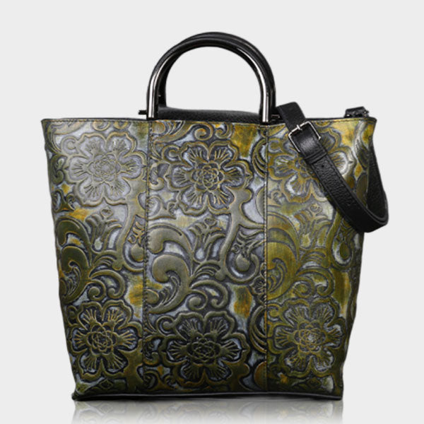Special Pattern Embossed Commuter Oversized Tote Bag - Green
