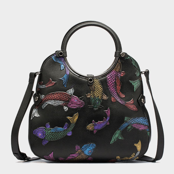 Genuine Leather Handmade Koi Embossed Bucket Bag - Black