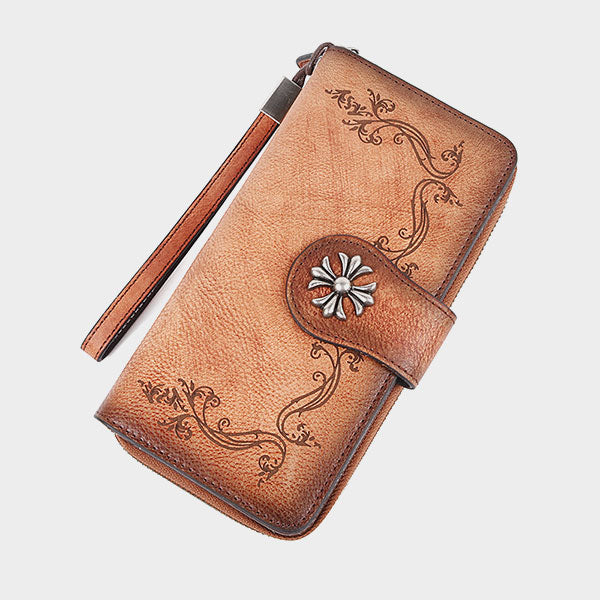 Hand Drawn Vine Pattern Brush-off Color Leather Long Wallet-Yellow