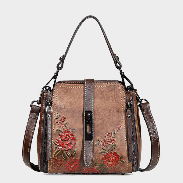 Rose-Flower Embossed Zipper & Buckle Vintage Genuine Leather Shoulder Bag-Coffee