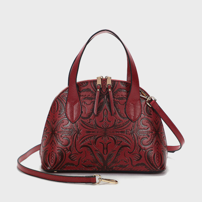 Handmade Carved Genuine Leather Bag-Red